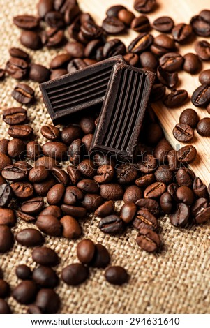 Coffee beans and natural chocolate