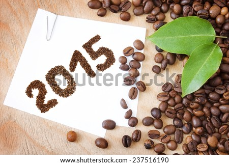 Coffee beans and new year - stock photo