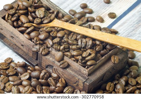 Coffee beans and vintage wooden casket and wooden spoon
