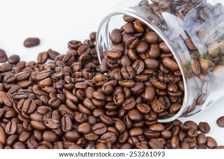 Coffee beans as a background isolated on white