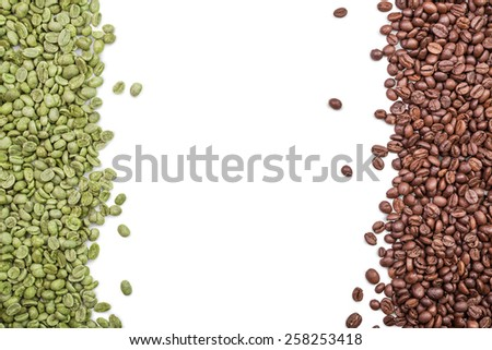 coffee beans as background from green and roasted coffee beans on white - stock photo