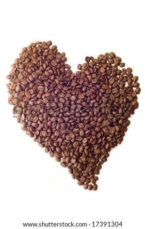 Coffee beans as heart on white