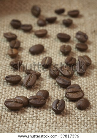 coffee beans at a textile background