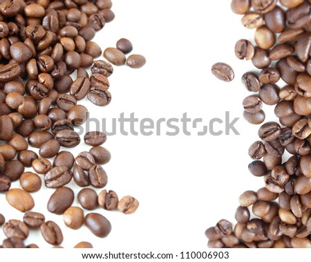 Coffee beans background isolated on white