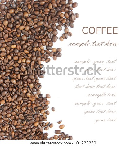Coffee beans background isolated  white with sample text - stock photo