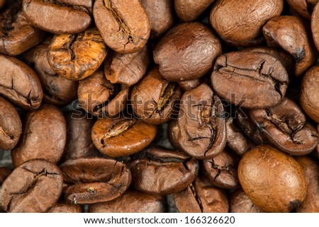 Coffee beans background, stock image. - stock photo