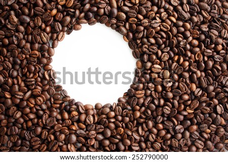 Coffee beans background with empty white circle for text