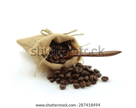 coffee beans bag isolated a white background - stock photo