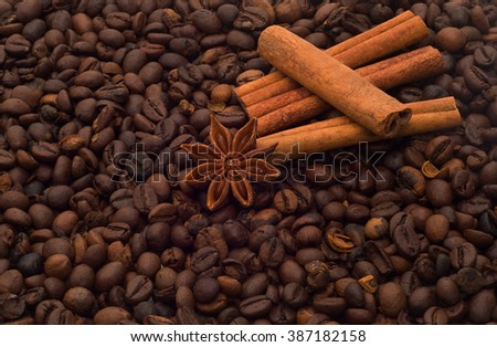 Coffee beans, cinnamon and star anise - stock photo