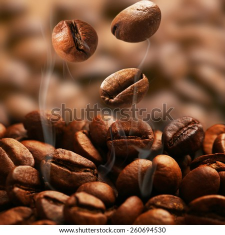 Coffee beans, close up - stock photo