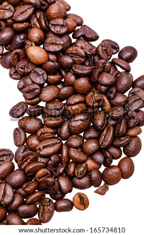 Coffee beans close-up shot isolated on white background - stock photo