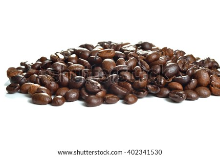 Coffee Beans closeup on white background