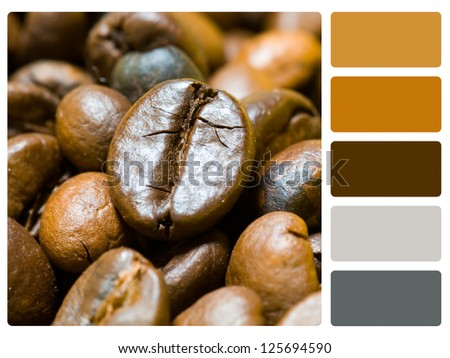 Coffee beans colour palette with complimentary swatches. - stock photo