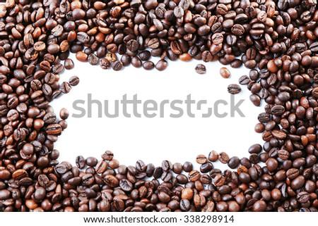 Coffee beans frame on white background - stock photo