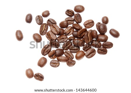 coffee beans from above on white