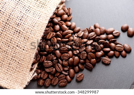 coffee beans from south america dark roasted on an artistic slate background