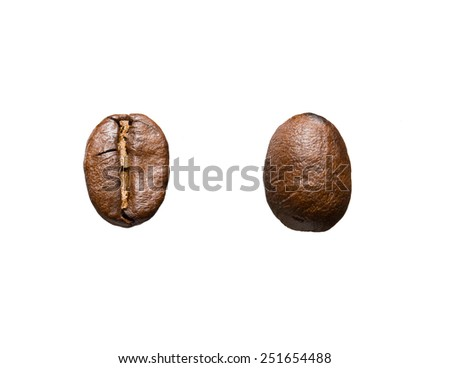 coffee beans front and back - stock photo