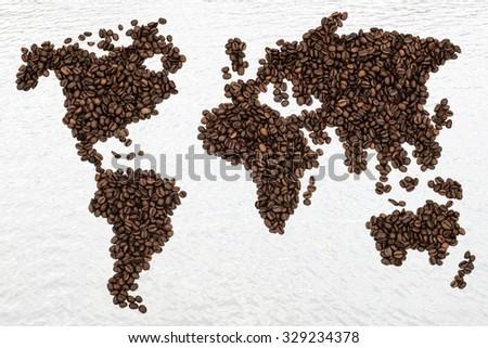 Coffee beans global world map - stock photo
