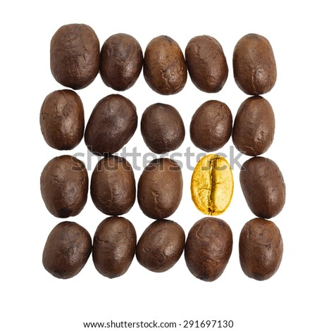 Coffee beans gold isolated on a white background with clipping path. - stock photo