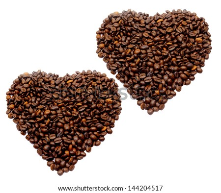 Coffee beans heart on a white background