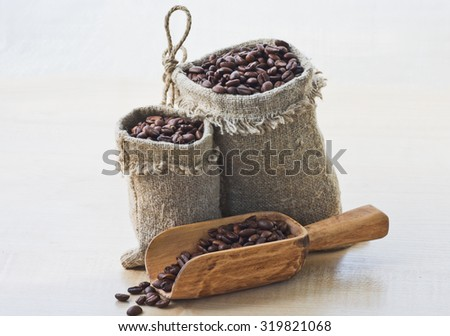 Coffee beans in a bags - stock photo