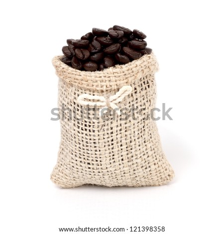 Coffee Beans in a burlap sack isolated on white background