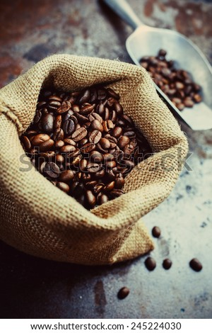 Coffee Beans in a Canvas Bag