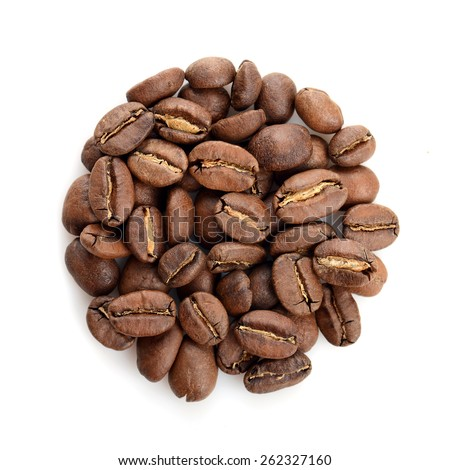 Coffee beans in a circular shape isolated over white background. - stock photo