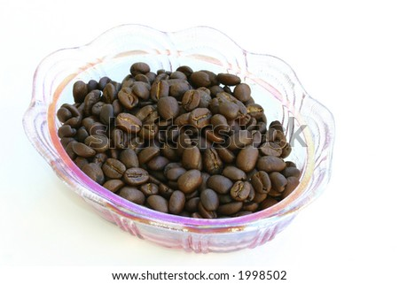 coffee beans in a decorative bowl