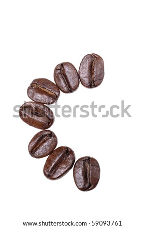 "Coffee beans in a form to spell the letter ""C"" to be used with the other letters to spell out the word ""Coffee"" isolated on white - stock photo"