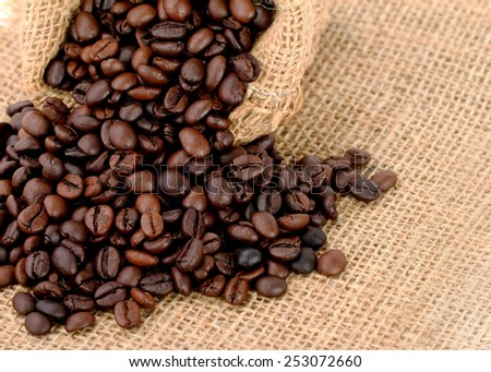 Coffee Beans in a sack Bag. This has clipping path.