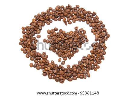 Coffee beans in a shape of heart isolated on white background