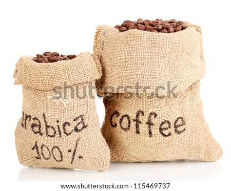 Coffee beans in bags isolated on white