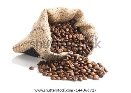 coffee beans in brown bag isolated on white background. culinary coffee still life.