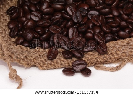Coffee Beans in Burlap Bag - stock photo