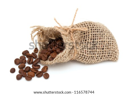 coffee beans in burlap bag isolated on white background - stock photo