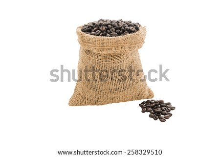 Coffee beans in burlap sack isolated on white background - stock photo