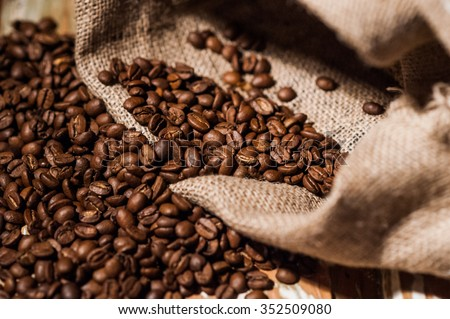 Coffee beans in coffee sack  - stock photo