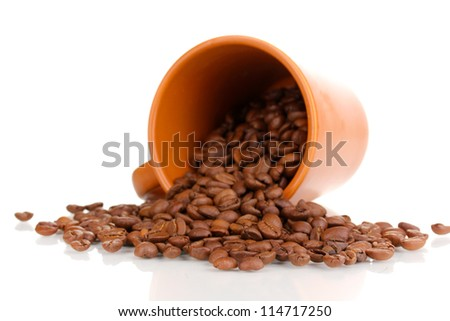 Coffee beans in cup isolated on white - stock photo