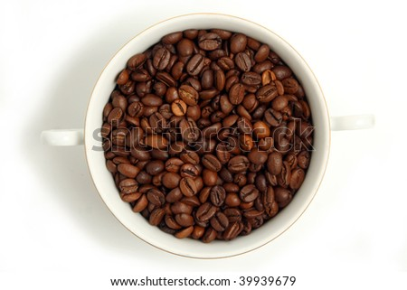 Coffee Beans in cup on white  background