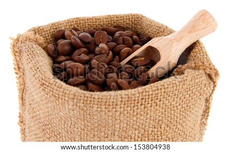 Coffee beans in sack isolated on white - stock photo