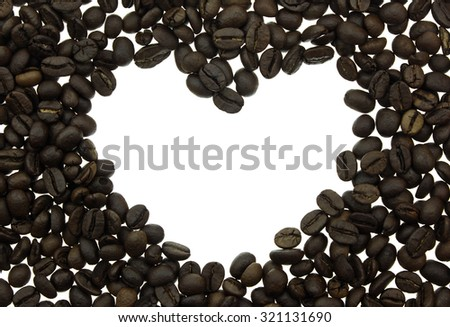 Coffee beans in shape of heart isolated on white background. - stock photo