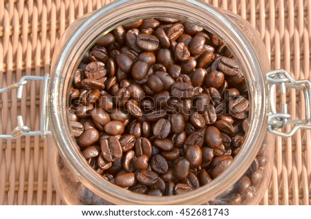 coffee beans in the bottle