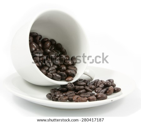 Coffee beans in the cup  isolated on white background