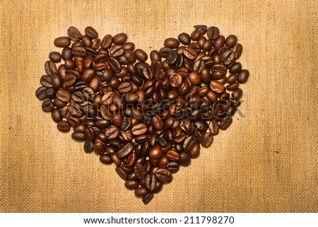 Coffee beans  in the shape of the heart.