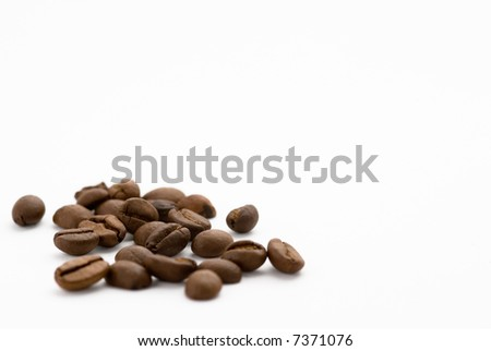 Coffee beans in white background