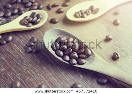 coffee beans in wooden spoon on the table vintage tone color.