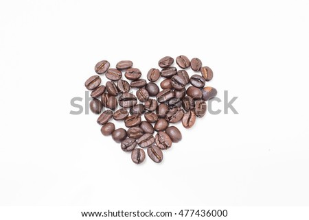 Coffee beans is heart shape on white background