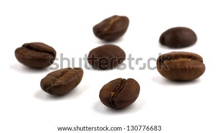 Coffee beans isolated on the white background