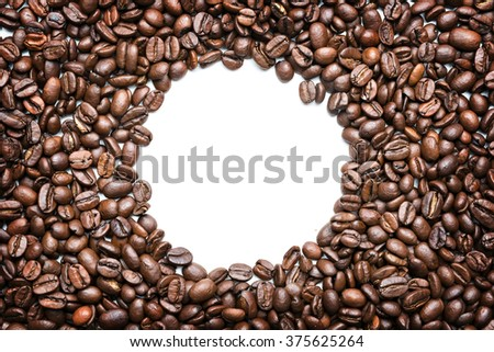 coffee beans isolated on white background, circle inside - stock photo